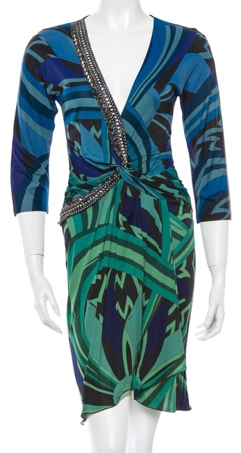 Emilio Pucci Black Longsleeve Ruched Sexy New 6 40 S Small Silk V-neck Logo Monogram Print Floral Animal Print Embellished Sequin Dress
