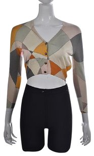 Emilio Pucci Womens Beige Printed Cardigan Silk Cropped Sweater