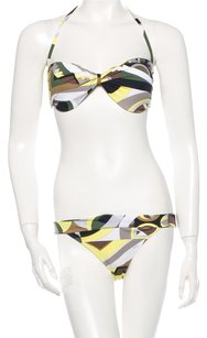 Emilio Pucci Olive, brown, ivory monogram Emilio Pucci two-piece swimsuit New 10 44 L Large