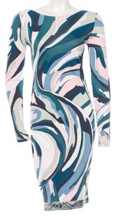 Emilio Pucci Pink White Abstract Print Longsleeve 10 L Large 44 New Logo Monogram Dress
