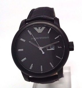 Emporio Armani Armani Mens Ar0496 Classic Stainless Steel Black Dial Watch