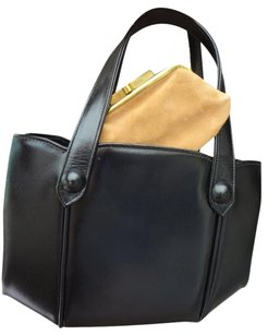 ENGLAND Excellent Clean Cond Fast Shipping 1940's - 50's Kelly Tote in ENGLAND, BLACK LEATHER,+ COIN PURSE