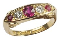 English QUALITY ANTIQUE ENGLISH 18K GOLD NATURAL RUBY DIAMOND 5 STONE RING C19