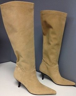 Enzo Angiolini Suede Pointy Toe Stacked Wood Heel Knee High B3305 Tan Boots