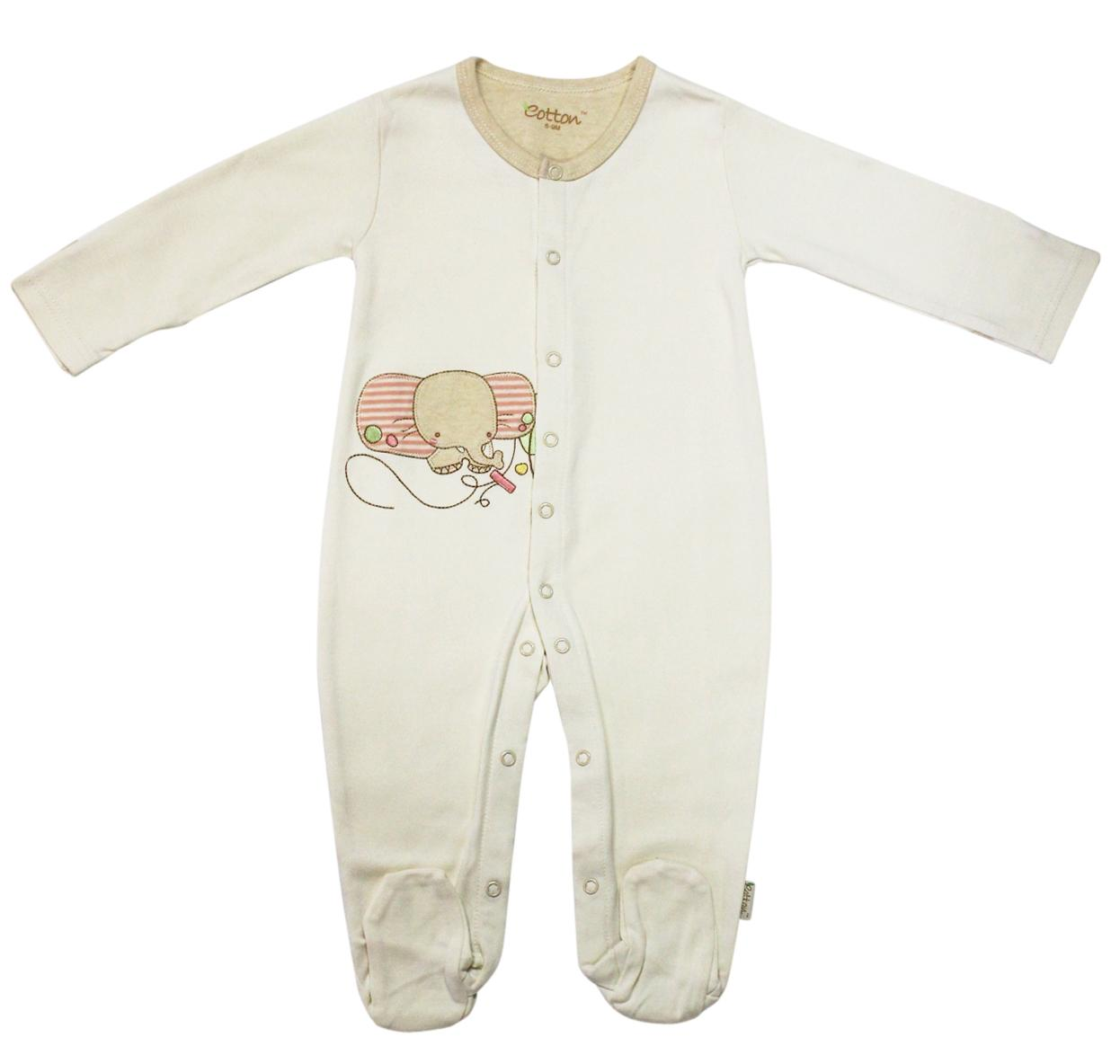 Eotton Beige Certified Organic Baby Romper Small 3 6 Months
