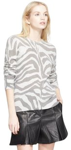 Equipment Shane Light Cashmere Zebra Print Long Sleeve Knit Sweater