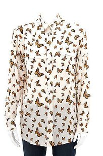 Equipment Femme Ivory Slim Signature Butterfly Printed Silk Button Up S2 Top Multi-Color