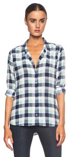 Equipment Adalyn White Peacoat Blue Green Plaid Check Silk Button Up Top Multi-Color