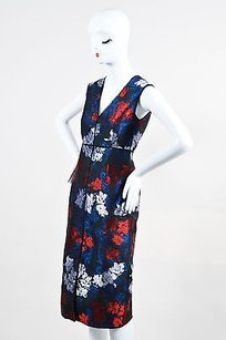 ERDEM Navy Red Floral Dress