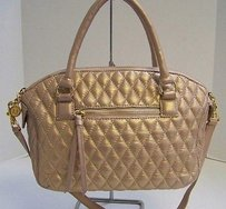 Eric Javits York Pearl Gold Quilted Leather Satchel in Pinks