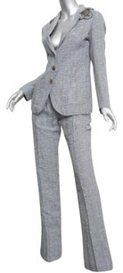 Ermanno Scervino Ermanno Scervino Womens Cream Black Houndstooth Beaded Pant Suit 382