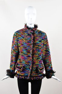 Escada Escada Black Multicolor Wool Tweed Tulle Fringe Trim Button Blazer Jacket