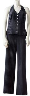 Escada Escada Black White Wool Pinstripe Pc Halter Vest High Waist Pants Hs2203