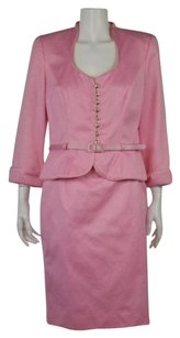 Escada Escada Couture Womens Pink Textured Metallic Skirt Suit Blazer Wtw