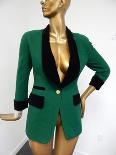 Escada Escada Green Wool Black Velvet Jacket Blazer