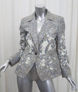 Escada Escada Womens Cream Multicolor Cotton Print Long-sleeve Blazer Jacket 408