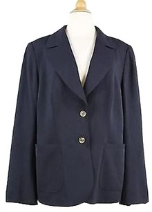Escada Escada Womens Navy Blue Solid Blazer Long Sleeve Rayon Blend