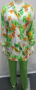 Escada Set Linen Floral Top Shirt 60950al Relaxed Pants Greens