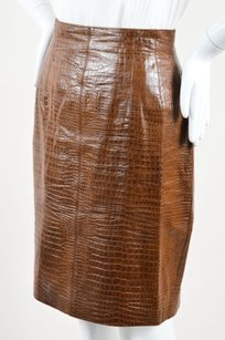 Escada Leather Embossed Skirt Brown