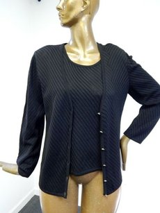 Escada 4442 Ribbed Knit Twin Set Shell Cardigan Sweater