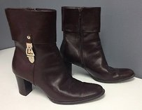 Etienne Aigner Dark Side Zip Gold Tone Hardware Ankle B3079 Brown Boots