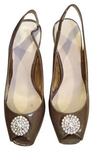 Etienne Aigner Slingback Faux TAUPE PATENT LEATHER Pumps