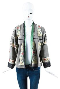Etro Black Green Red Flax Multi-Color Jacket