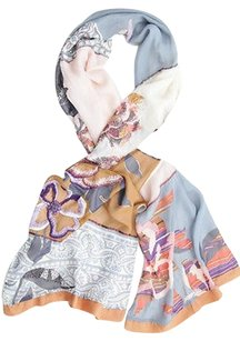 Etro Etro Multi Color Silk Floral Embroidered Bead Embellished Rectangle Long Scarf