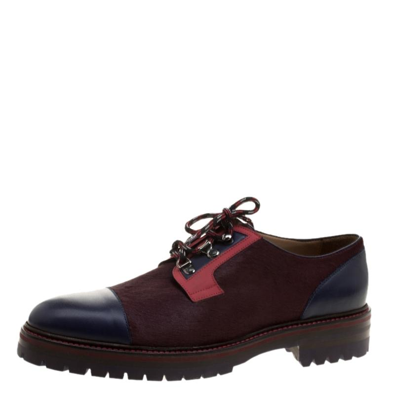 Etro Multicolor Leather and Calfhair Oxfords Flats Size EU 44 (Approx. US 14) Regular (M, B)