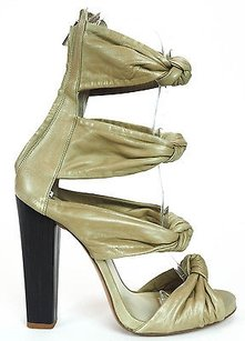 Etro Strappy Olive Soft Leather Zip Up Ankle Strap Sandals Heels Olive Green Pumps