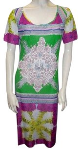 Etro Green Paisley Short Sleeved Scoop Neck Stretch Hs3064 Dress
