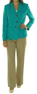 Evan Picone 13 58 Evan Picone Turquoise Green Sand Beige Classic Time Pant Suit Sz