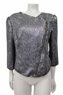 Express Silver Cross Diagnal Zip Front Sequin Black Jacket
