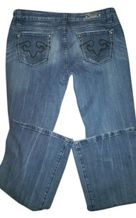 Express Embellished Bedazzled Studded Boot Cut Jeans-Distressed
