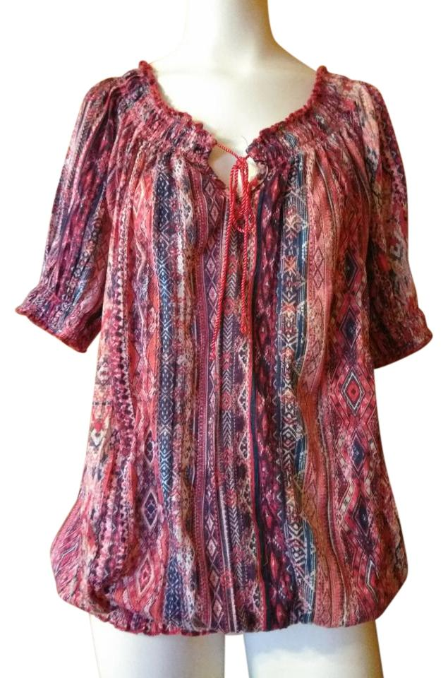 Faded Glory Pink And Multicolor Boho Style Ladies Blouse