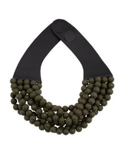 FAIRCHILD BALDWIN FAIRCHILD BALDWIN Bella Leather Beaded Olive Multi-Strand NECKLACE