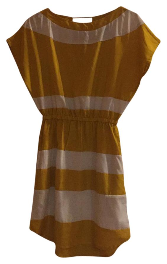 Fashion Fuse Golden Yellow And White Color Block Dress