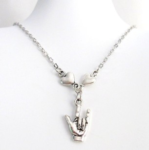 Fashion Jewelry For Everyone Asl I Love You Charm Necklace I Love You Sign Language Necklace Sign
