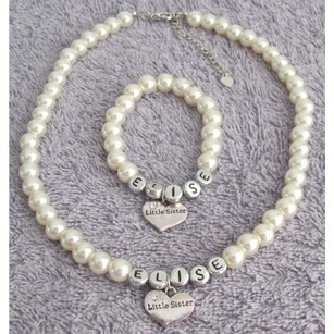 Fashion Jewelry For Everyone Big Sister Little Sister Jewelry Ivory Pearl Personalized Necklace Bracelet