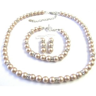 Fashion Jewelry For Everyone Bridal Champagne Pearls Jewelry Simulated Diamond Spacer Necklace Sets