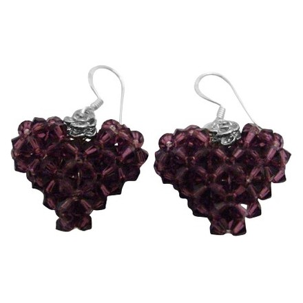 Amethyst Known As The Color Of Royalty Adorable Puffy Heart Earrings