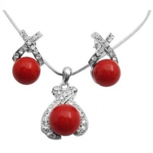 Red Best Deals Pearls Pendant Earrings Color Jewelry Set