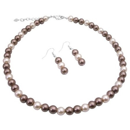 Ivory/Bronze Party Pearls Cream Pearls Necklace Jewelry Set