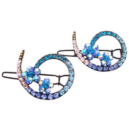 Blue Bridesmaid Inexpensive Affordable Crystals Clip Hair Accessory