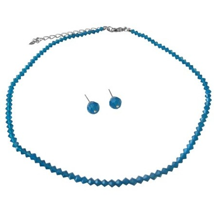 Blue Bridesmaid Cheap Caribbean Crystals Necklace Earrings Jewelry Set