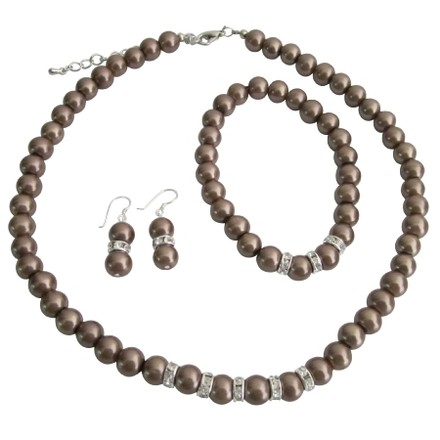Bronze/Brown Pearls Bridesmaids Simulated Pearl Necklace Sterling Earring W/ Stretchable Bracelet Jewelry Set