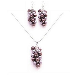 Light & Dark Purple Celebrity Costume Lavender Pearls Jewelry Set