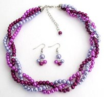 Classy Fine Jewelry In Purple Plum Lilac Trio Color Twisted Pearls Necklace Earrings Set For Bridesmaid