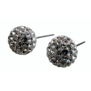 Clear Crystals Glitter Ball Stud Post Earrings