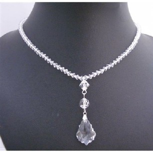 Clear Swarovski Crystals Briollette Pendant Necklace Swarovski Beads